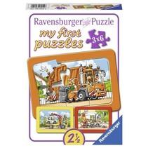 My first puzzles: Vuilniswagen, Ziekenwagen, Takelwagen (3x6)