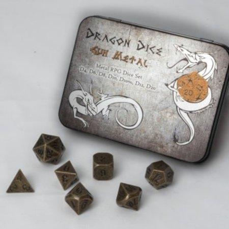 Black Fire Dragon Dice Gun Metal RPG Dice Set