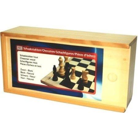 HOT games Schaakstukken blank/zwart  Mt.3  Staunton 77mm kist