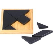 Tangram solid wood 13x13 cm in bl. Kist