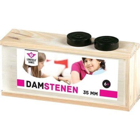 Longfield Games Damschijven 32 mm in Blank Houten Kist