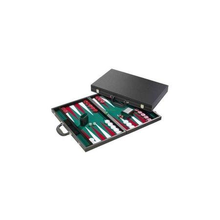 Philos Backgammon koffer zw.Luxe ingel.velours groen/rood/wit46cm