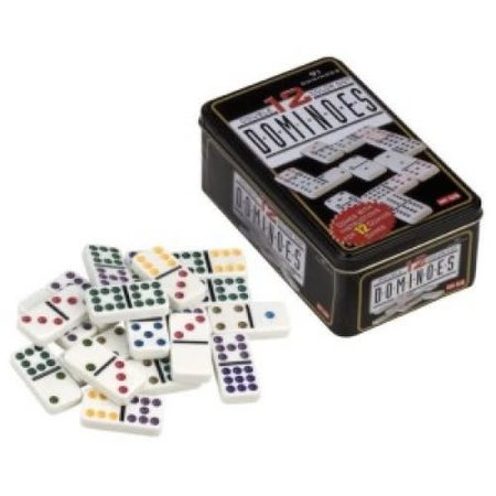 Domino dubbel 12 in blik gekleurd 91 stenen
