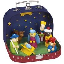Kerst Kribbe Hout in Koffer