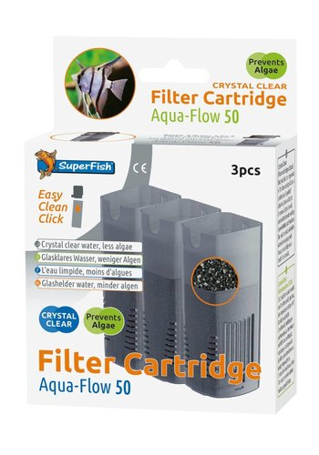 SuperFish Aqua-Flow 50 Crystal Clear Cartridge 3 stuks