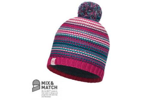 BUFF Amity Pink Cerisse/Grey Vigore Jnr Knitted & Polar Hat