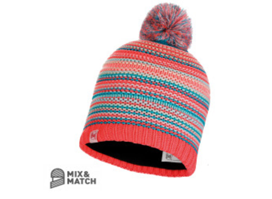Buff Amity Coral Pink Jnr Knitted Hat