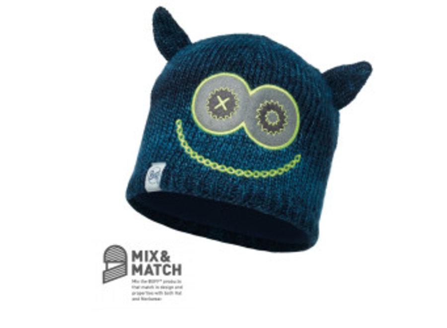 Buff Monster Merry Dark Navy/Navy Jnr Knitted & Polar Hat