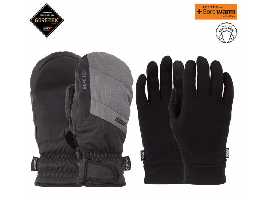 Pow Warner Gtx Short Mitt Charcoal
