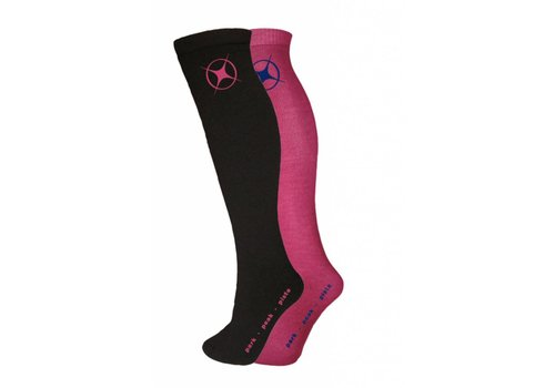 MANBI Performance Sock twin pack Blk/Rasberry