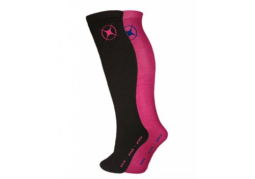 MANBI Kids Performance Sock twin pack Blk/Rasberry