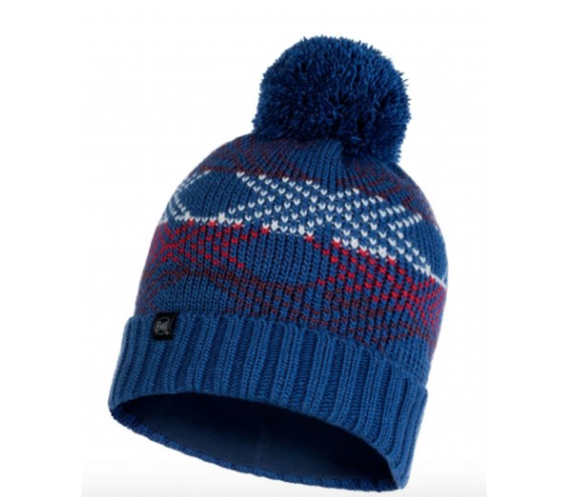 Buff Garid Knitted Hat -Blue
