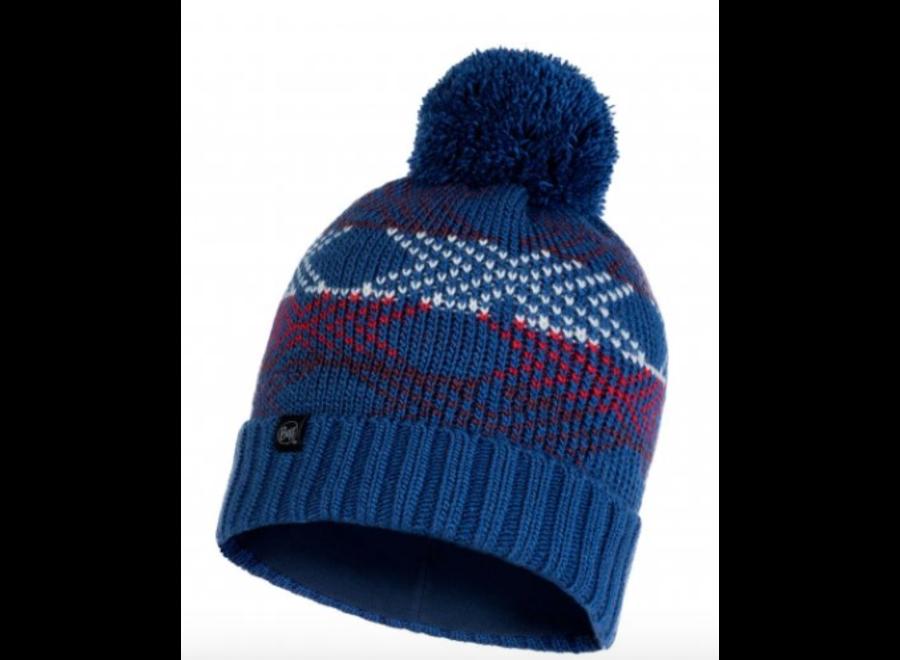 Buff Garid Knitted Hat -Blue