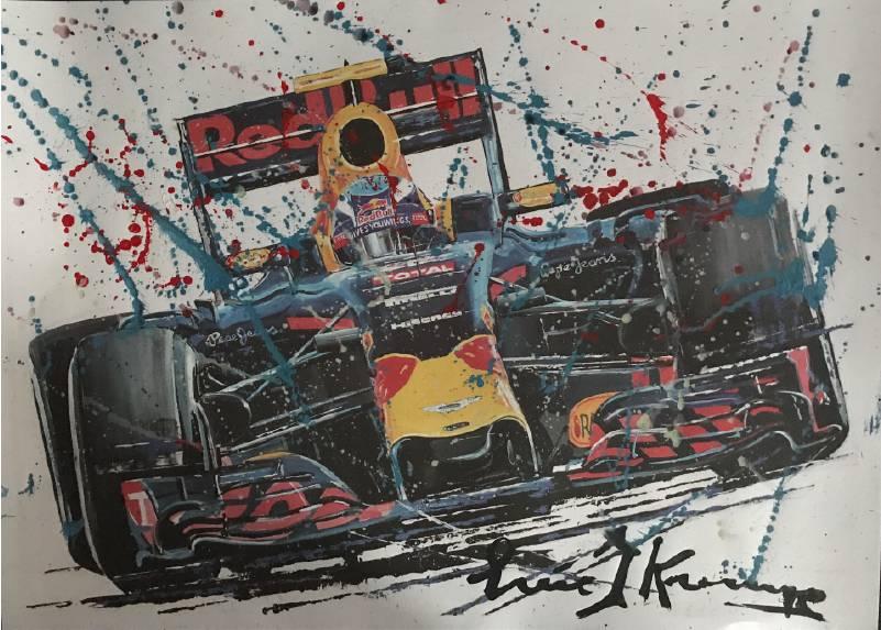 Litho Max Verstappen Red Bull Racing met gemengde techniek | Eric Jan Kremer