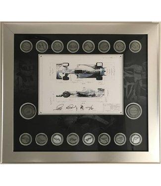 Mercedes ondertekende print Lewis Hamilton en Nico Rosberg 2015