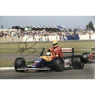 Foto Nigel Mansell Taxi voor Senna met handtekening