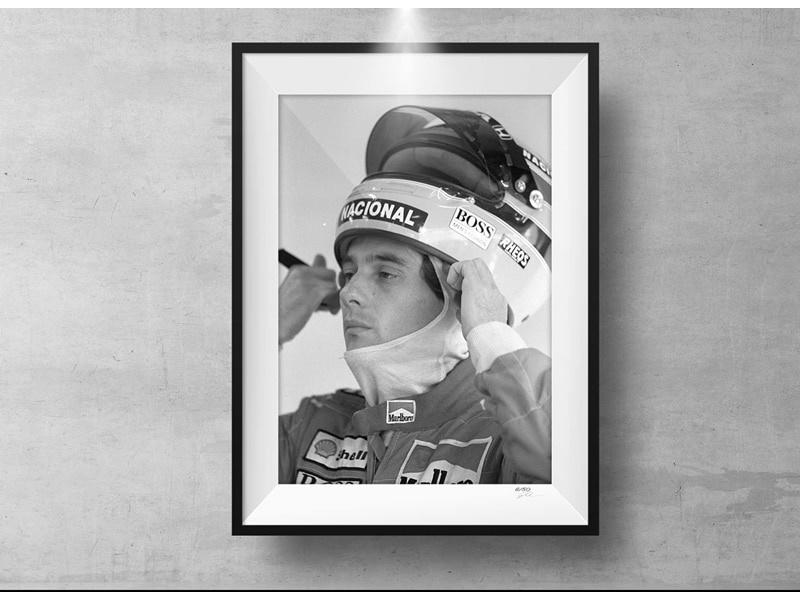 Ayrton Senna Print met houten lijst 63 x 43 cm