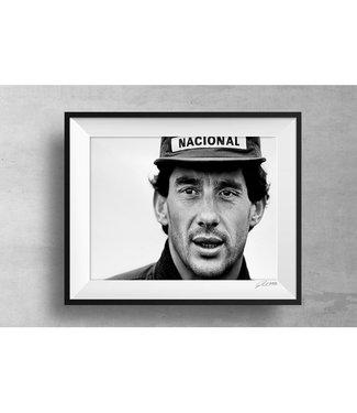 Ayrton Senna Print met houten lijst