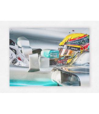 Lewis Hamilton GP Maleisie 2017 op plexiglas