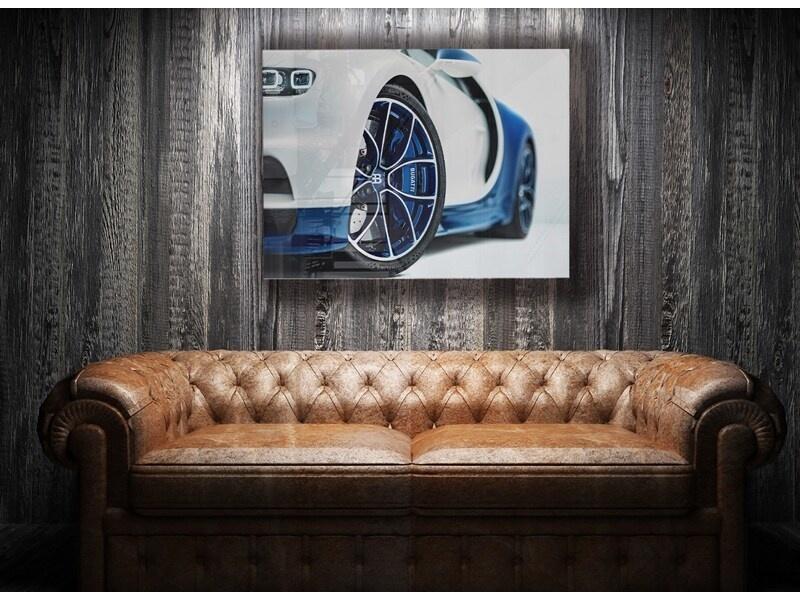 Bugatti Chiron 16.4 Blue Power op plexiglas