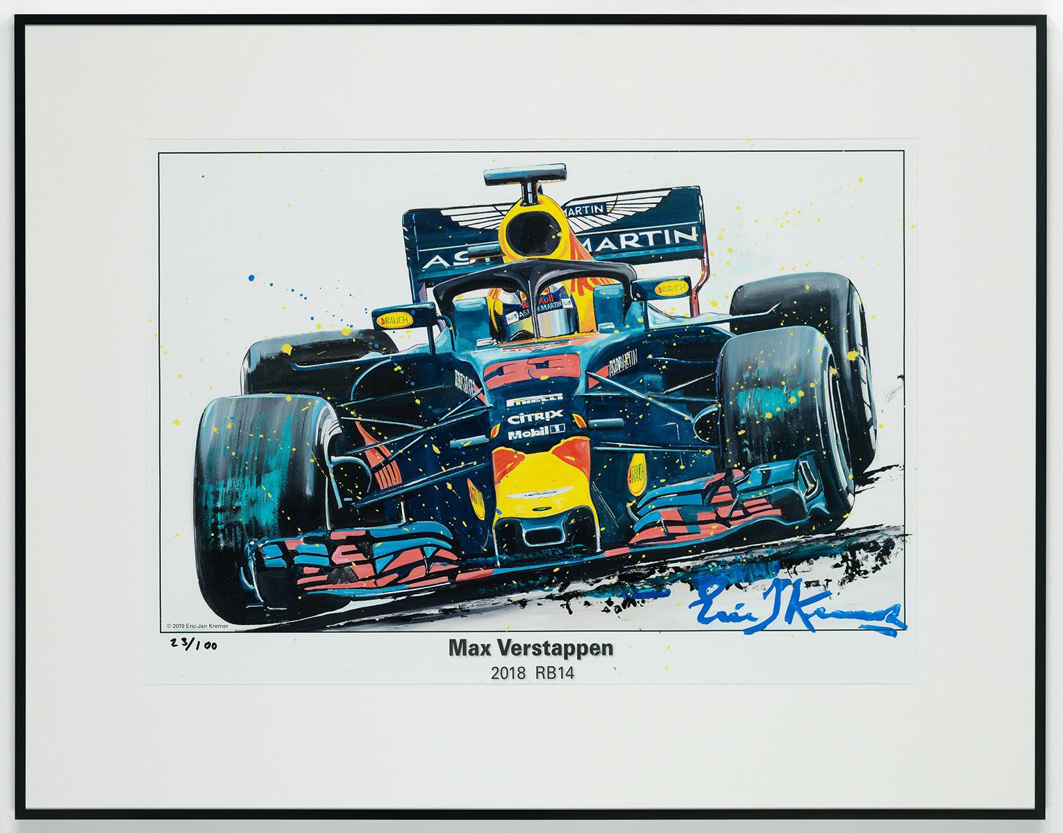 Max Verstappen Litho + Artwork RB14 - 2018 | Red Bull Racing
