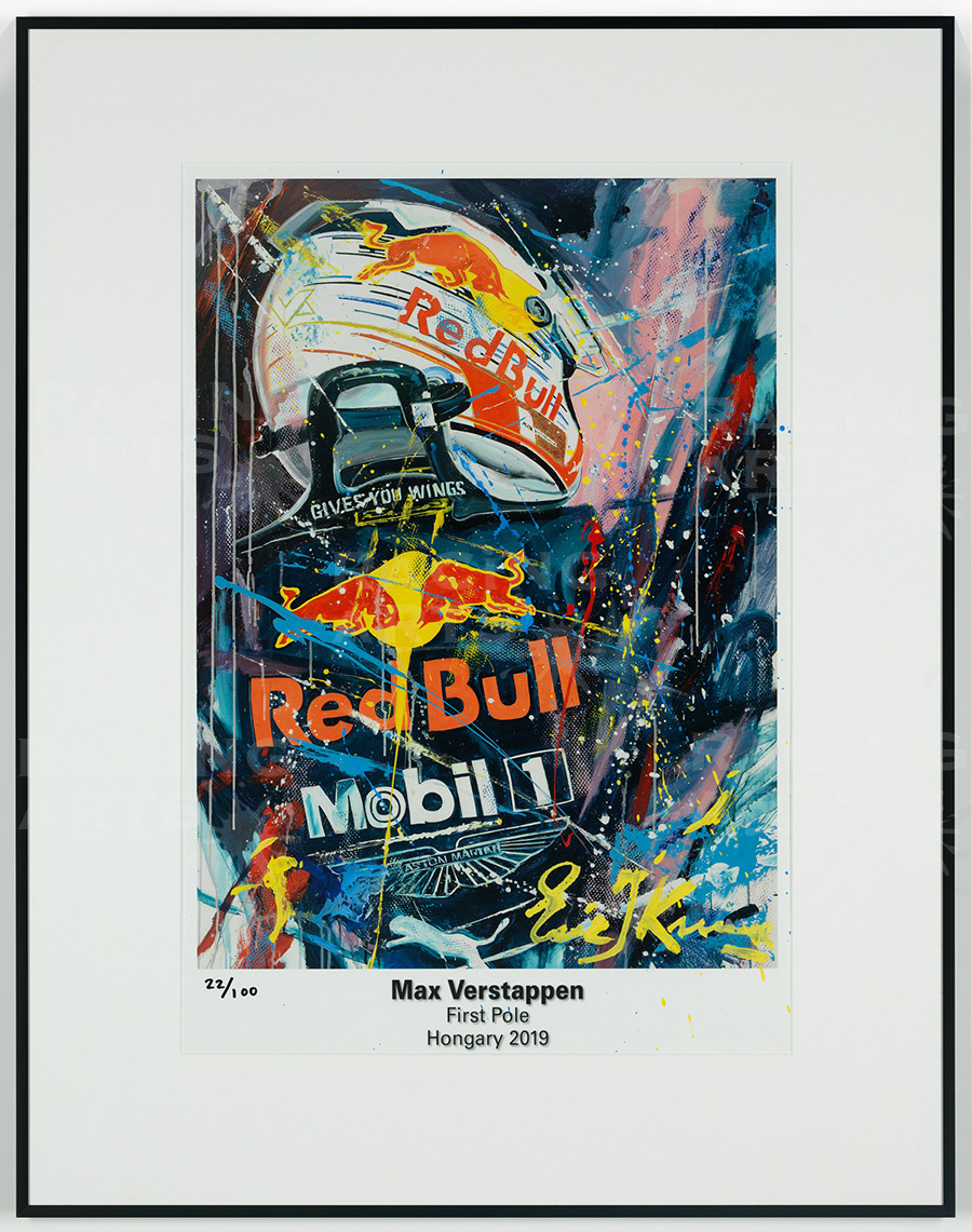 Max Verstappen First Pole Litho / Acryl 50 x 70 cm | Eric Jan kremer