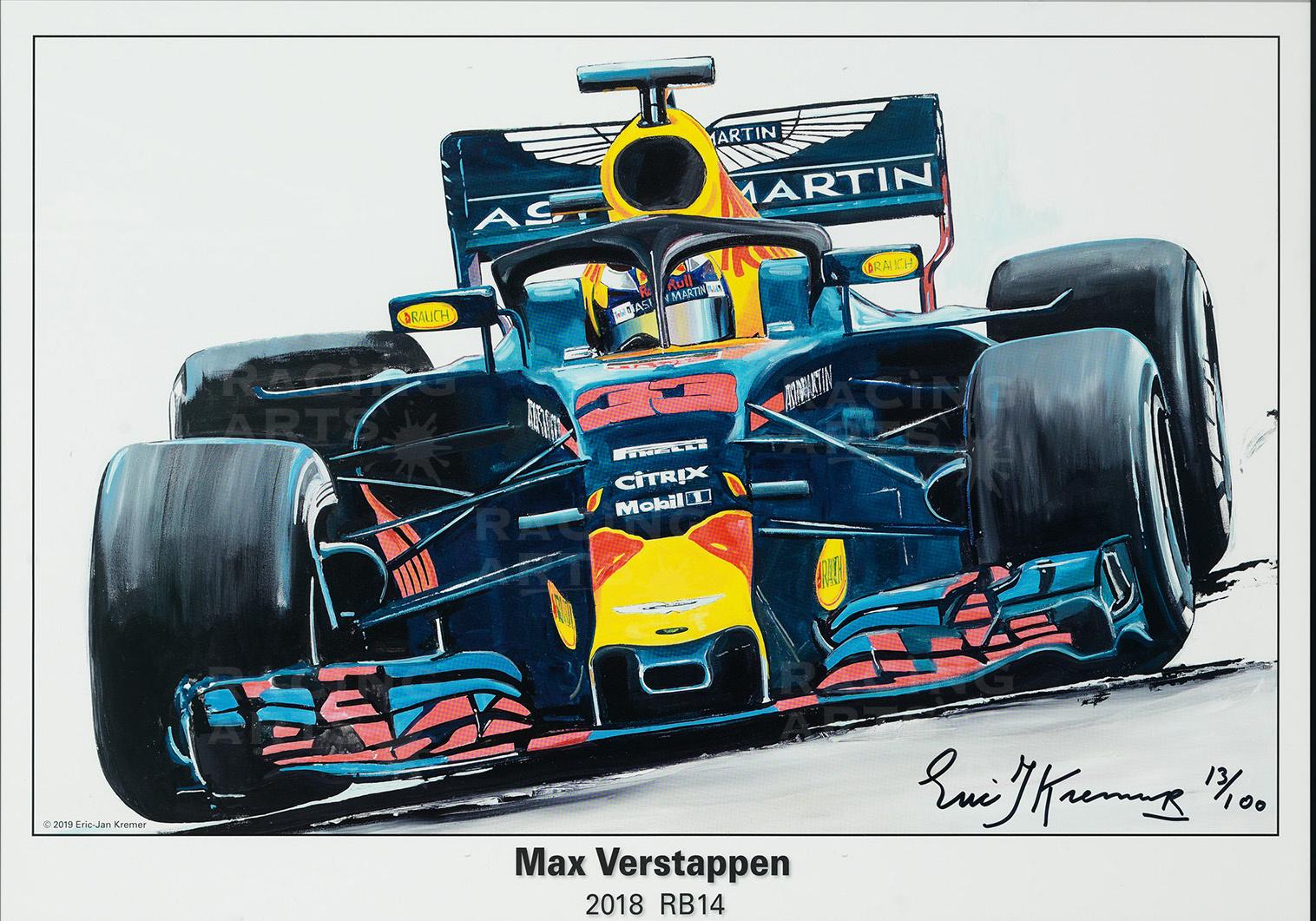 Max Verstappen Litho RB14 - 2018 | Red Bull Racing