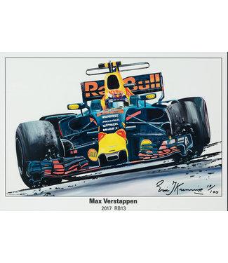 Max Verstappen Litho RB13 - 2017 | Red Bull Racing