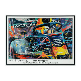 Max Verstappen Red Bull Car First Pole Litho