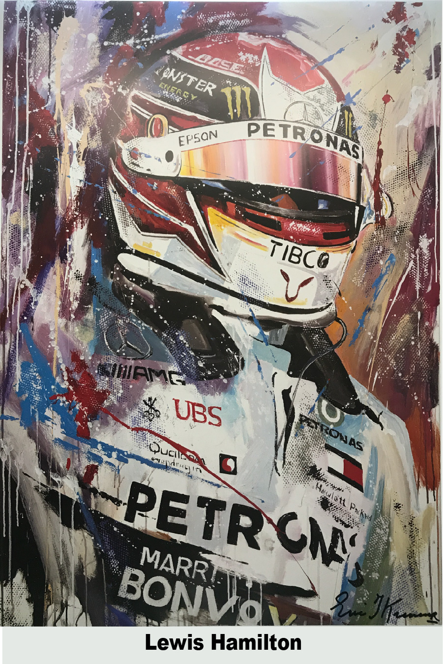 Lewis Hamilton 2019  litho print met lijst