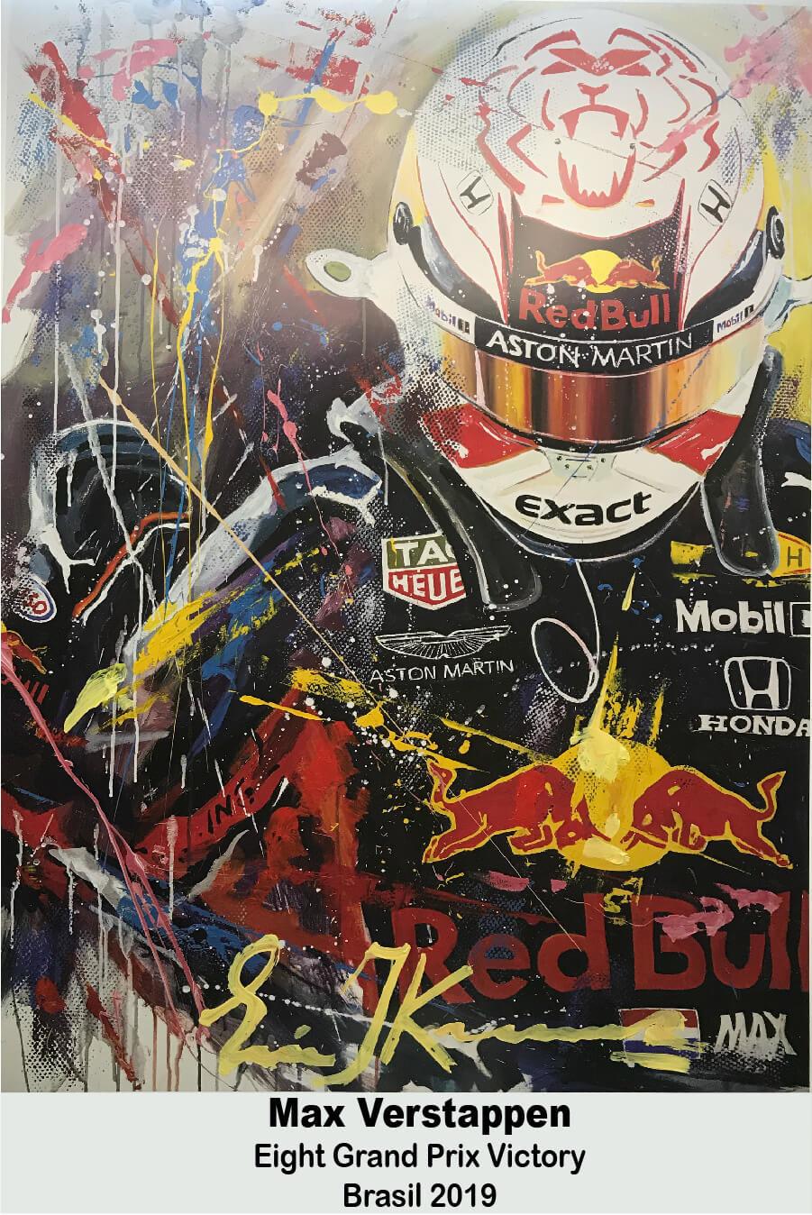 Max Verstappen Print 8th victory Brasil 2019  met lijst