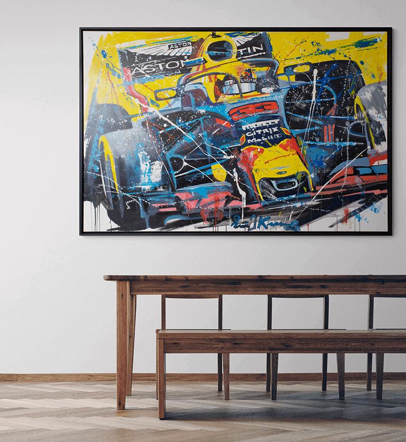 Schilderij Max Verstappen Aston Martin 2018 - Eric jan Kremer