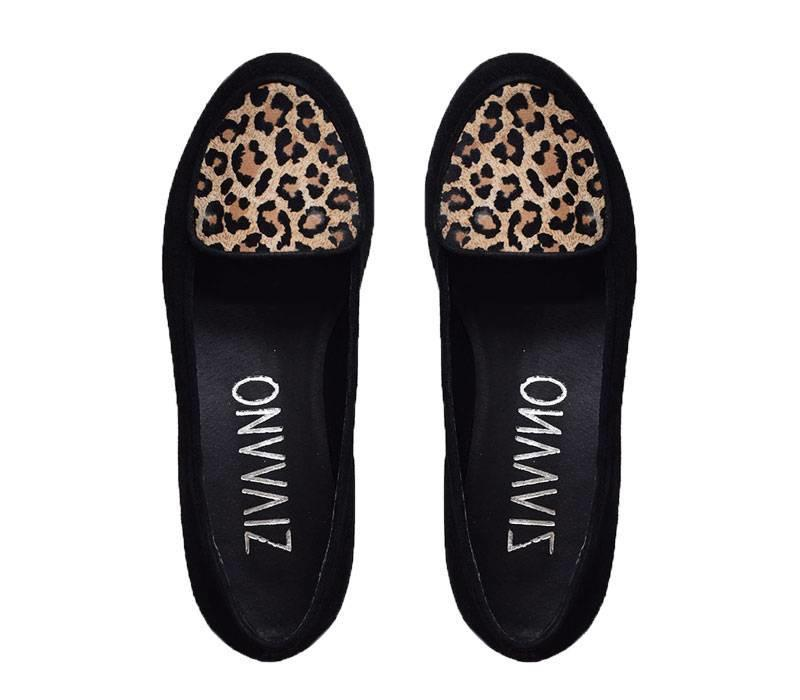 Zwarte loafer Metta met panterprint