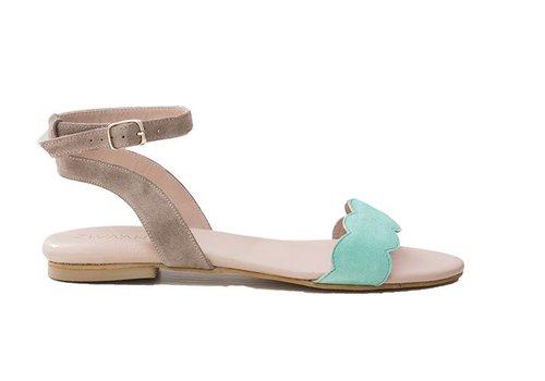Sandaal Elin - turquoise/beige