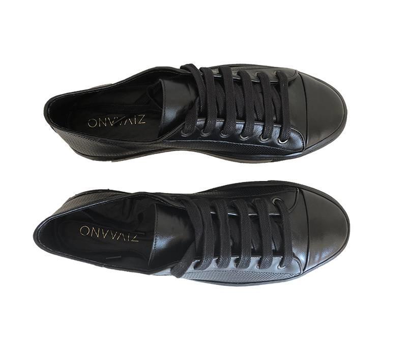 Sneaker Joske - zwart met satijnen veters