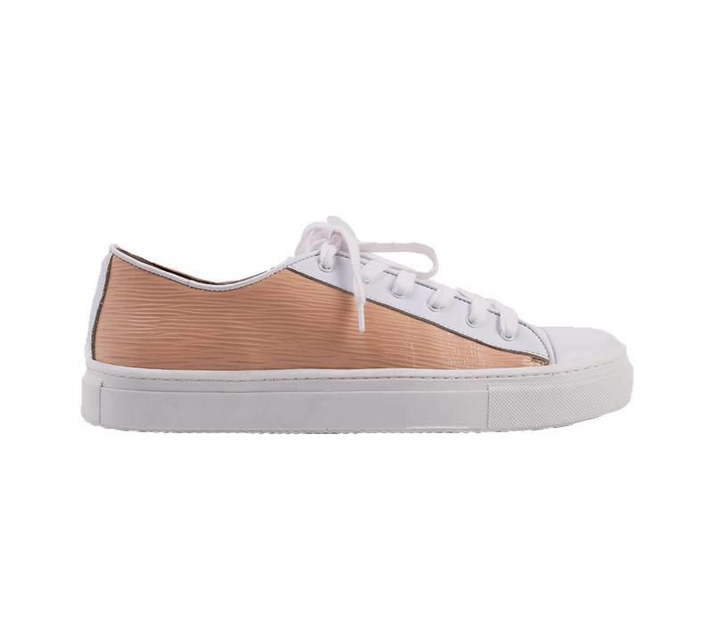 Sneaker Joske - white with salmon leather