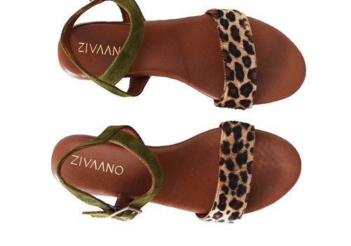 Sandal Sarah - olive/leopard