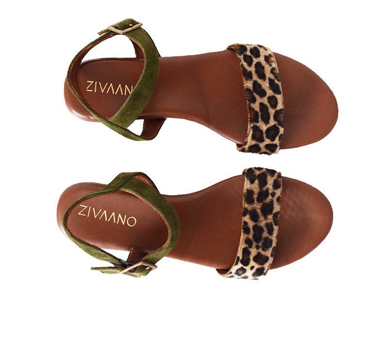 Sandaal Sarah - leopard/olijf