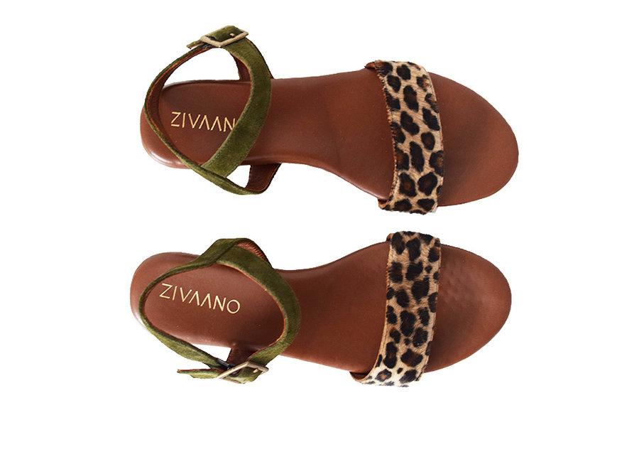 Sandal Sarah - leopard/olive