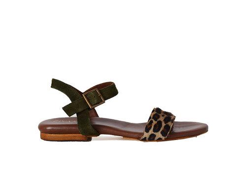 Sandaal Sarah - olijf/leopard