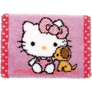 Vervaco Knooptapijt kit Hello Kitty met hondje