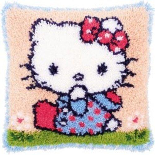Vervaco Knoopkussen kit Hello Kitty op het gras