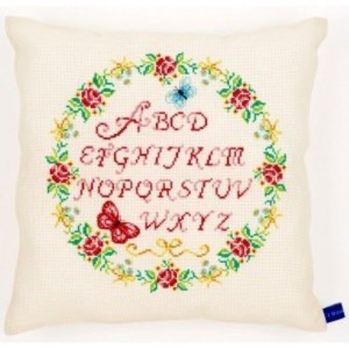 Vervaco Homedeco kussen kit Rozen alfabet