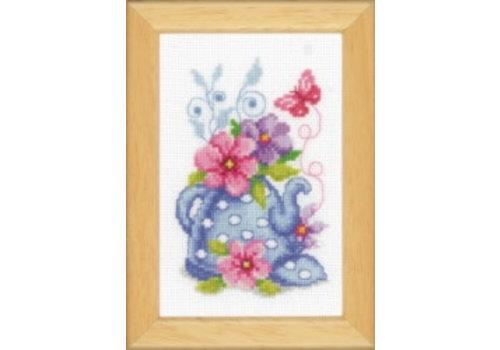 Vervaco Miniatuur kit Theepot met bloemen