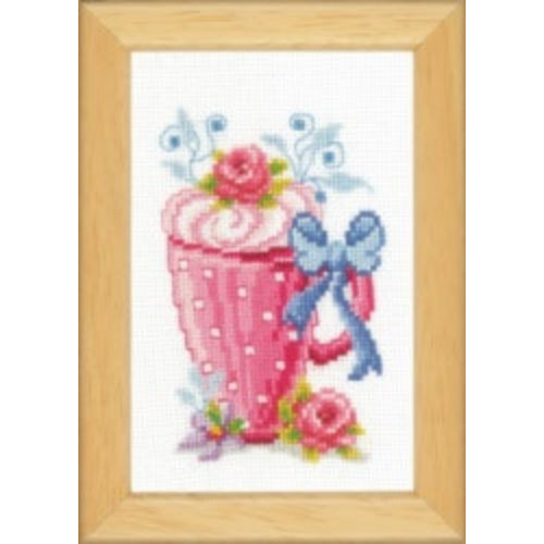 Vervaco Miniatuur kit Beker met bloemen