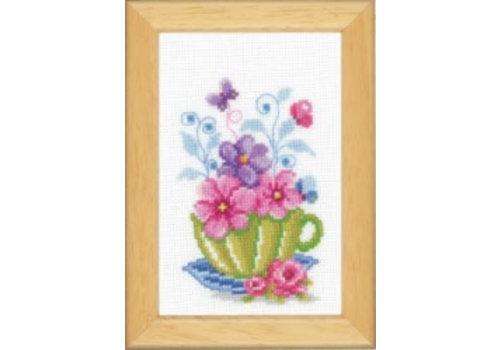 Vervaco Miniatuur kit Tas met bloemen