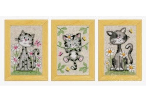 Vervaco Miniatuur kit Poezen met bloemen set van 3
