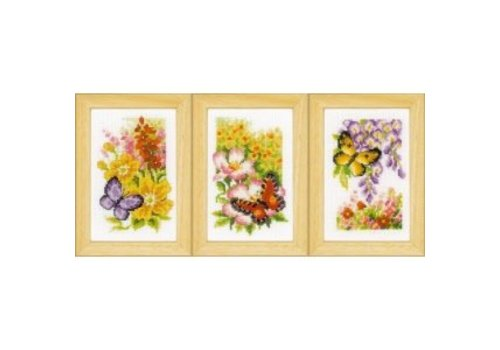 Vervaco Miniatuur kit Vlinders en bloemen set van 3