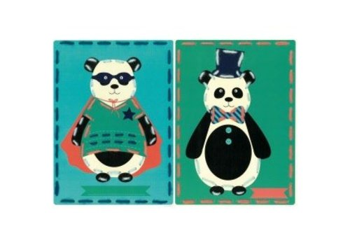 Vervaco Borduurkaart kit Circus panda's set van 2