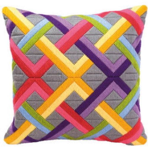 Vervaco Spansteekkussen kit Kleurrijke diagonalen op grijs